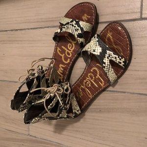 Sam Edelman Green Snakeskin Sandals